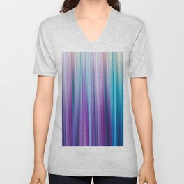 Abstract Purple and Teal Gradient Stripes Pattern Unisex V-Neck