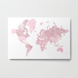Pink watercolor world map, Melit Metal Print