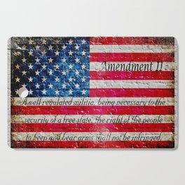 Distressed American Flag and 2nd Amendment On White Bricks Wall Cutting Board