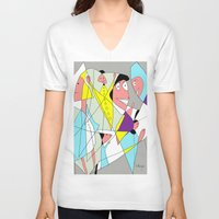 nurse V-neck T-shirts featuring The nurse by Carmen Navajas