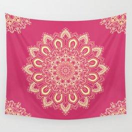 Boho Raspberry Pink Yellow Mandala Flower Wall Tapestry