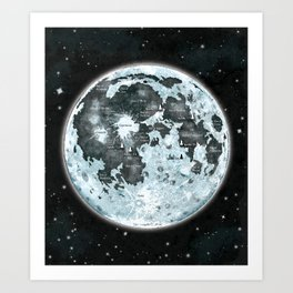 Full Moon Outer space Art Art Print