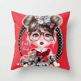 Cat Crazy Chloe - MunchkinZ Elf - Sheena Pike Art & Illustration Throw Pillow