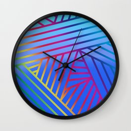 Rainbow Ombre Pattern with Blue Background Wall Clock