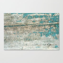 Rustic Wood Turquoise Weathered Paint Wood Grain Canvas Print