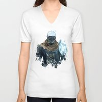 dark souls V-neck T-shirts featuring Dark Souls Knight Splatter by 666HUGHES