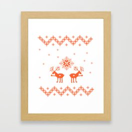 Winter ornament with deer and snowflakes Framed Art Print