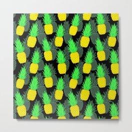 Pineapples on black Metal Print