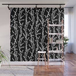 Vines (white on black, large pattern) Wall Mural