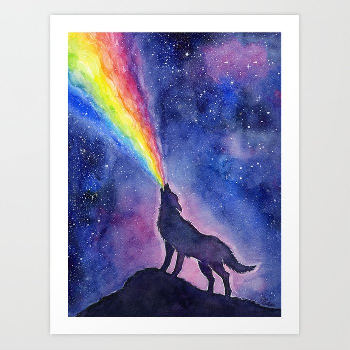 Galaxy Wolf Howling Rainbow Art Print By Olechka