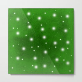 Abstract snow against bold green texture Metal Print
