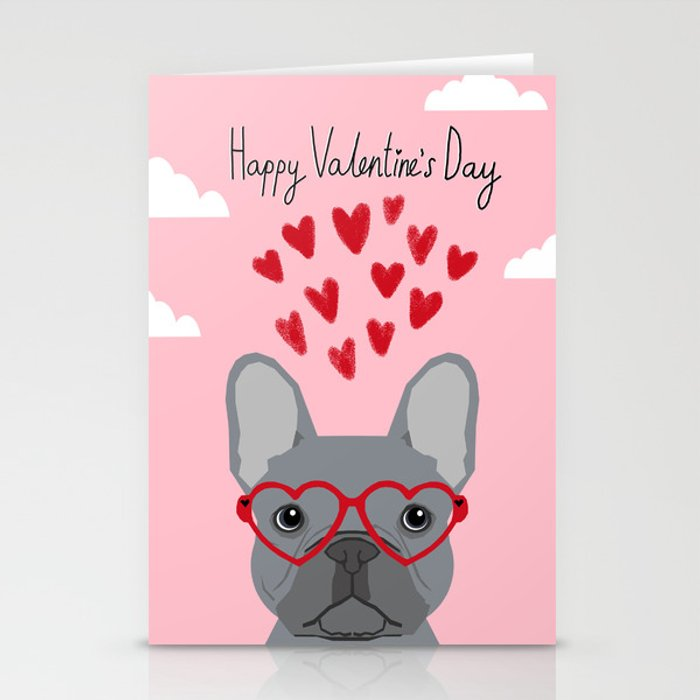 French Bulldog love valentines day heart glasses frenchie gifts Stationery Cards