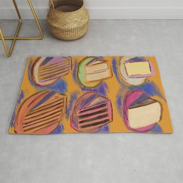 Never 2 Many Cakes Gold Background #Desserts #Painting Rug