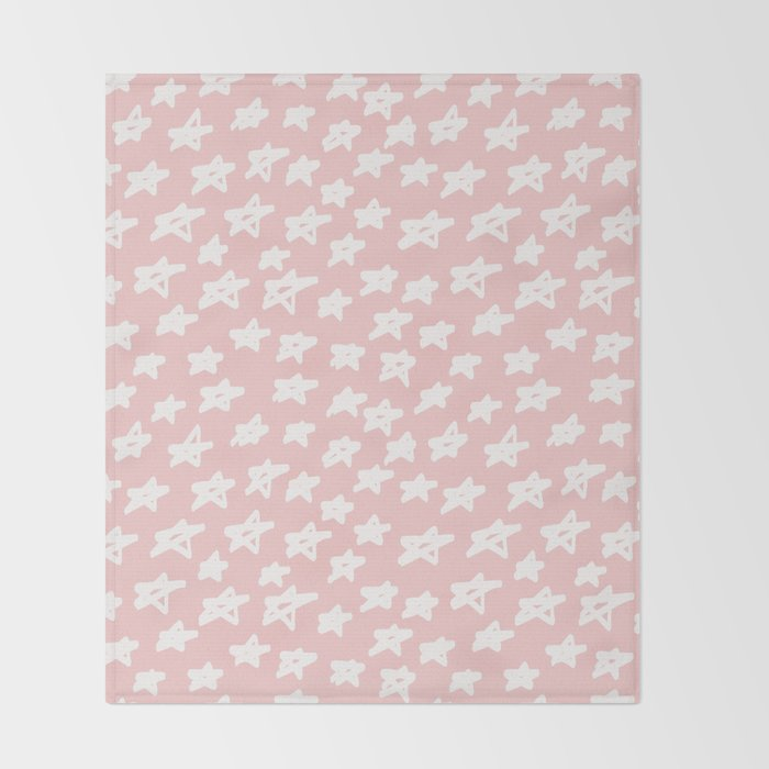 Stars on pink background Throw Blanket
