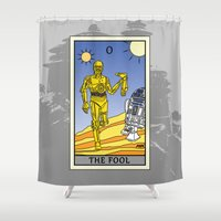 tarot Shower Curtains featuring The Fool - Tarot Card by kamonkey