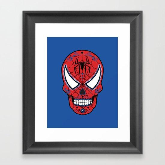 Spidey Sugar Skull Framed Art Print