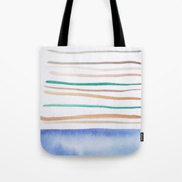 24   |181026 Lines & Color Block | Watercolor Abstract | Modern Watercolor Art Tote Bag