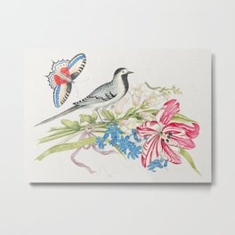 The 18th century  of a gray bird on a branch with tulip snapdragons and forget-me-nots with butterfl Metal Print