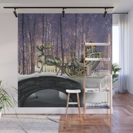 Victorian Holiday Sleigh Couple  Wall Mural