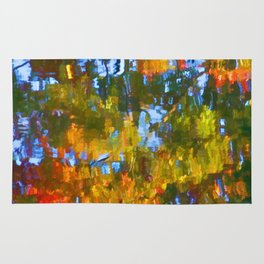 Fall leaves on river 12 Rug