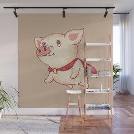 Cute pig Superhero flying Wall Mural