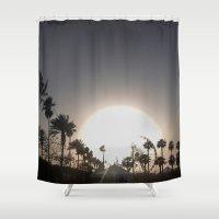 coachella Shower Curtains featuring Coachella Ferris wheel by Annaelle
