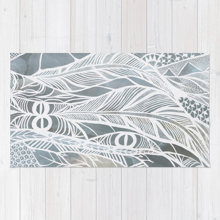 Muted Grey Feathers Rug