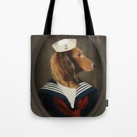 charli xcx Tote Bags featuring Doxie Dachshund Art - Sailor Charli by The Lonely Pixel