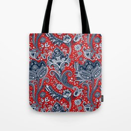Red White & Blue Floral Paisley Tote Bag