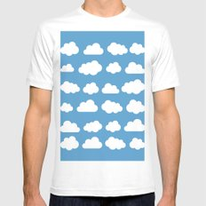 White clouds on a blue skies MEDIUM White Mens Fitted Tee