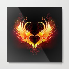 Angel Fire Heart with Wings Metal Print