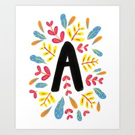 Letter 'A' Initial/Monogram With Bright Leafy Border Art Print