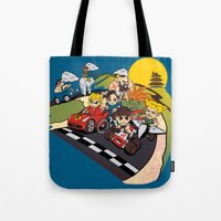 mario kart Tote Bags featuring Super Fighting Kart by Legendary Phoenix
