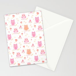 Cute funny pastel pink coral orange owl floral Stationery Cards