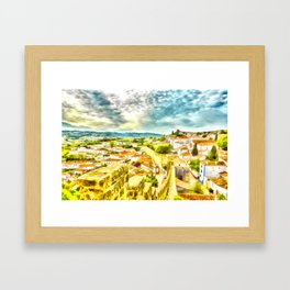 Obidos, small and authentic fortified town in Portugal Framed Art Print