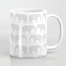 Geometric Elephant grey monochromatic minimal gray and white kids children pattern print  Coffee Mug