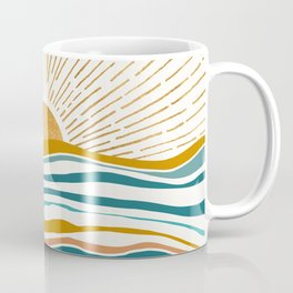 The Sun and The Sea - Gold and Teal Coffee Mug