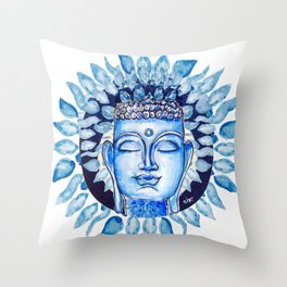 Soft Blue Mandala leaves & Buddha_ Hand Painted modern watercolour & ink Throw Pillow
