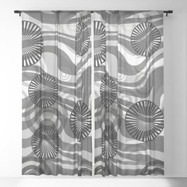 Zebra Stripes spiral design grey Sheer Curtain
