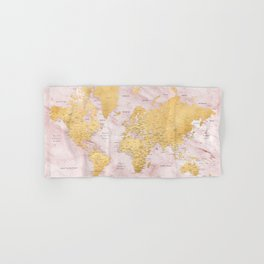 """Adventure awaits, gold and pink marble detailed world map, """"Sherry"""" Hand & Bath Towel"""