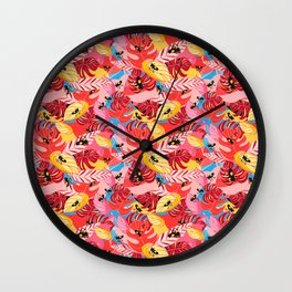 Beautiful illustration of a jungle with the frogs Wall Clock