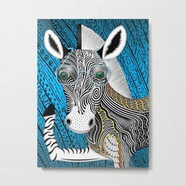 Portrait Of The Artist As A Young Zebra Metal Print