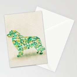 The Bernese Mountain Dog Typography Art / Watercolor Painting Stationery Cards
