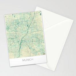 Munich Map Blue Vintage Stationery Cards
