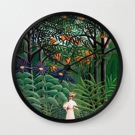 Henri Rousseau - Woman Walking in an Exotic Forest Wall Clock