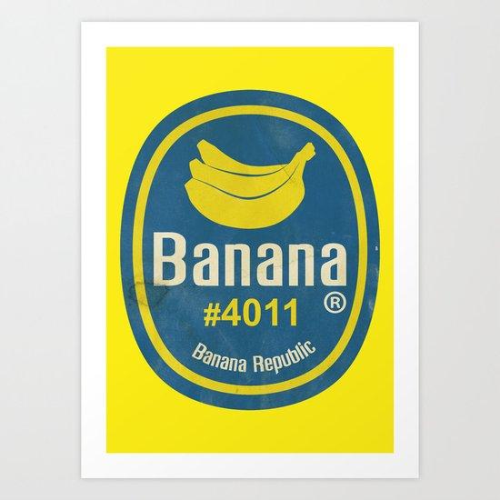 Banana Sticker On Yellow Art Print