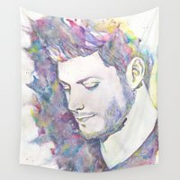 mandie manzano Wall Tapestries featuring Jensen Ackles - Watercolor by errkaroo