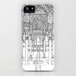 Alhambra palace, Granada, Andalucia - Spain-Black & White iPhone Case