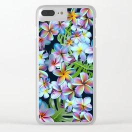 Rainbow Plumeria Dark Clear iPhone Case