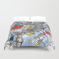tokyo Duvet Covers featuring Tokyo by Mondrian Maps